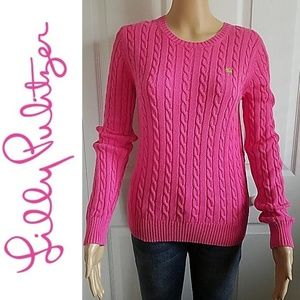 LILLY PULTIZER PINK CABLE KNIT CREWNECK SWEATER